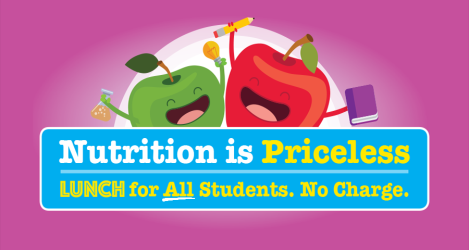 Illustration to let parents know that lunch is free for all students.